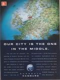 Plakatwerbung EUROGATE Hamburg in der Zeitschrift ab 1992, unsere Stadt ist die im mittleren Slogan stockfotografie