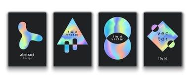 Plakaty Ustawiający Z Rzadkopłynnymi Kolorowymi kształtami Zdjęcia Stock