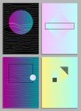 Plakaty z abstrakcjonistycznymi formami, geometryczny stylu 80 ` s, Memphis Sztuka dla pokryw, sztandarów, ulotek i plakatów, royalty ilustracja