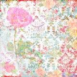 Plakboekachtergrond met bloemen en ornamenten Stock Afbeeldingen