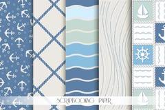 Plakboekreeks blauwe en witte overzeese patronen Royalty-vrije Stock Fotografie