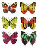 Plakboekreeks van zes multi-colored heldere kunstmatige vlinders Royalty-vrije Stock Foto
