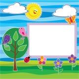 Plakboekstickers geplaatst de ZOMER, fotokader of kaart Stock Fotografie