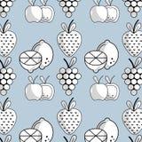 Plakcitroen met appel en druif met aardbeivruchten achtergrond vector illustratie