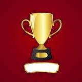 Plakette des goldenen Cup und des Metalls Stockfotografie