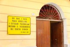 Plakette zum Gedenken an Paolo Borsellino in Palermo Lizenzfreies Stockbild