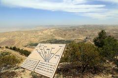 Plakieta pokazuje odległość od góry Nebo różnorodne lokacje, Jordania, Środkowy Wschód Zdjęcie Royalty Free