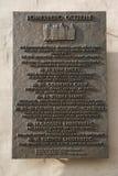 Plakieta upamiętnia bombardowanie w 1944 że historyczny miasto Frankfurt magistrala rujnował - Am - Obrazy Royalty Free