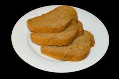 Plakken van bruin brood Stock Foto