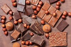Plakken van chocolade Het zoete concept van de voedselfoto Royalty-vrije Stock Foto