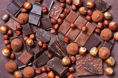 Plakken van chocolade Het zoete concept van de voedselfoto Royalty-vrije Stock Foto's