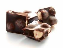 Plakken van chocolade met noot Stock Afbeelding