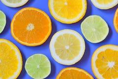 Plakken van diverse citrusvruchten stock foto's