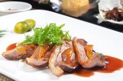 Plakken van eend gebraden vlees Royalty-vrije Stock Foto
