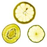Plakken van kalk, citroen en kiwifruit stock foto's