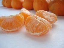 Plakken van mandarin close-up Gezuiverde mandarin stock fotografie