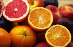 Plakken van oranje en citroenvruchten Stock Foto
