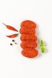 Plakken van pepperonisworst Royalty-vrije Stock Afbeeldingen