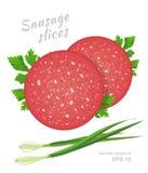 Plakken van salamiworst met verse geïsoleerde peterselie en groene ui Royalty-vrije Stock Foto