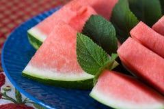 Plakken van Watermeloen op Plaat Royalty-vrije Stock Fotografie