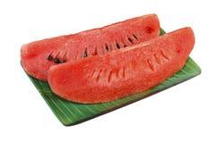 Plakken van watermeloen op witte achtergrond stock foto