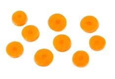 Plakken van wortel op witte achtergrond wordt geïsoleerd die Royalty-vrije Stock Afbeeldingen