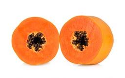 Plakken van zoete papaja op witte achtergrond Royalty-vrije Stock Foto's
