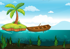 Plam tree and rowboat Stock Images
