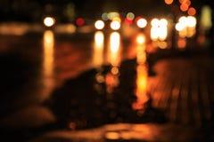 Plamy światła ruch drogowy na ulicie Zdjęcia Royalty Free