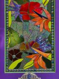 Plamy szklany okno w purpurowym drzwi Obraz Stock