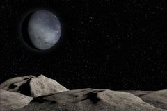 Planète, étoiles et nébuleuse inconnues dans l'espace extra-atmosphérique illustration libre de droits
