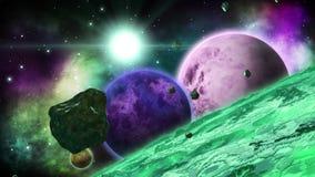 Planète étrangère énorme verte avec plusieurs planètes derrière Collection d'art de l'espace boucle clips vidéos