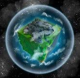 Planète étrangère avec les forêts, la mer, et la ville illustration de vecteur