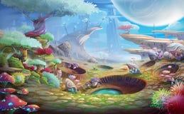 Planète étrangère le Crafter de météore avec le style fantastique, réaliste et futuriste illustration libre de droits