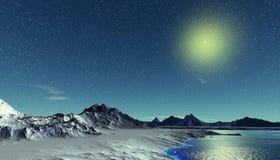 Planète étrangère Montagne et eau rendu 3d Photos stock