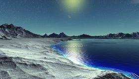 Planète étrangère Montagne et eau rendu 3d Images libres de droits