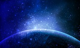 Planète abstraite dans l'espace bleu illustration stock