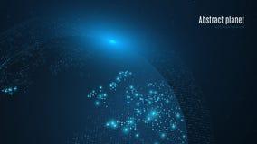 Planète abstraite sur un fond bleu-foncé La terre Carte du monde Lumière bleue La science fiction et de pointe Grandes villes Car Image libre de droits