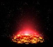 Planète ardente dans l'espace Photos stock