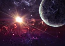 Planète au-dessus des nébuleuses dans l'espace. Éléments de ceci illustration libre de droits