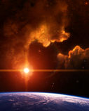 Planète avec la nébuleuse et l'étoile rouge Photo libre de droits