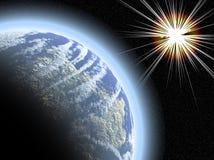 Planète avec le starburst Photo libre de droits
