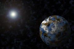 Planète avec Starfield et épanouissement illustration de vecteur