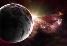 Planète avec une bavure du soleil illustration de vecteur