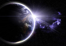 Planète avec une bavure du soleil illustration libre de droits