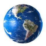 Planète bleue de la terre d'isolement sur le fond blanc Aquarelle, illustration 3D illustration stock