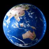 Planète bleue de la terre d'isolement sur le fond noir Aquarelle, illustration 3D illustration stock