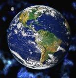 Planète bleue de la terre dans l'espace Image stock