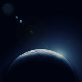 Planète bleue de la terre dans l'espace avec l'étoile Photos stock