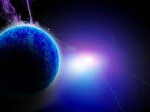Planète bleue lumineuse Image libre de droits